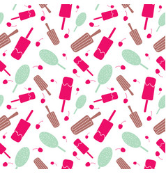 ice cream and stars seamless pattern vector image