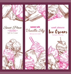 Ice cream cafe sketch banners set vector