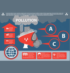 industrial pollution info graphic elements vector image