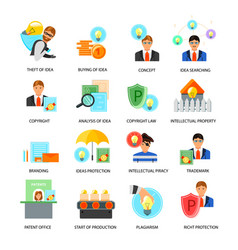 Intellectual property flat icons set vector