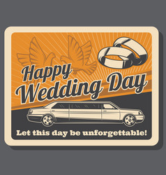 limousine rent wedding ceremony bridal rings vector image