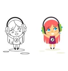 Line Man Geek Hipster Headphones Listen Street vector image