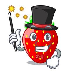 Magician fresh strawberry in a bowl cartoon vector