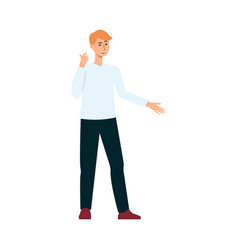 man supporting dialogue and communicating flat vector image