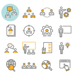 management consulting icon flat line icon vector image