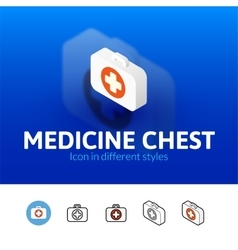 Medicine chest icon in different style vector