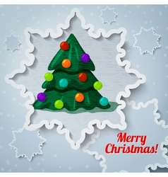 Merry christmas and new year greeting card - paper vector image