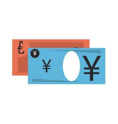 Money yen and euro cash billets vector