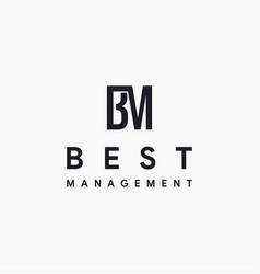 monogram letter bm logo icon template vector image