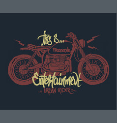 motorcycle hand drawn t-shirt print vector image