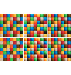 Multicolor set of square tiles six options of vector