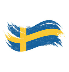 National flag of sweden designed using brush vector