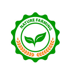 natural farming round green logo green leafes vector image
