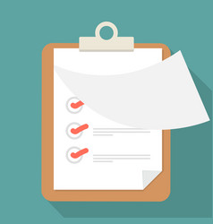 Open paper clipboard and checklist with long vector