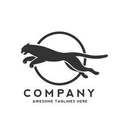 panther jump logo vector image