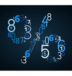 Pecent sign font from numbers vector image