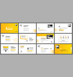 presentation and slide layout template yellow vector image