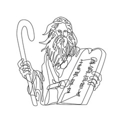prophet moses with staff holding a stone table vector image