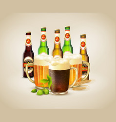 Realistic beer background vector