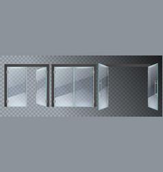 realistic glass door entrance modern glass doors vector image
