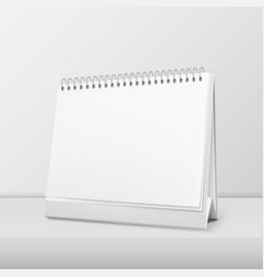 realistic horizontal blank spiral calendar vector image