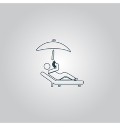 relax under an umbrella on a lounger vector image