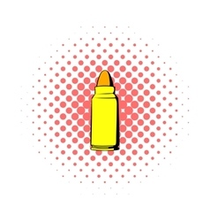 Rifle bullet icon comics style vector image