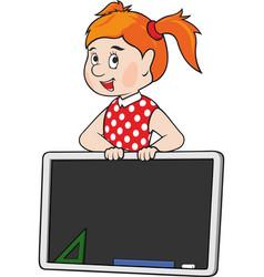 schoolgirl with blackboard vector image