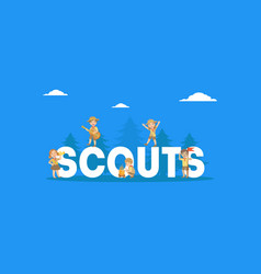 scouts word with giant letters banner template vector image