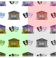 Seamless pattern city theater building with masks vector