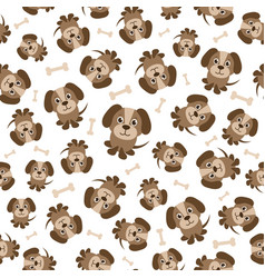 seamless pattern with brown dogs vector image