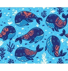 Seamless whale pattern with tribal ornament vector