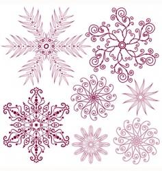 Set dark lilas snowflakes vector