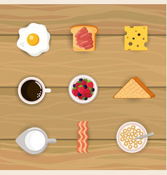 Set delicious breakfast with cereal and sliced vector