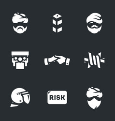 Set of immigration risk icons vector
