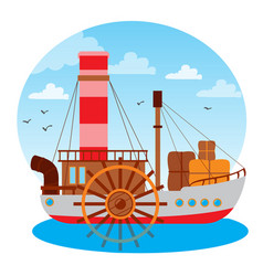 Steamboat vintage water transport design gaming vector