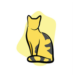striped cat sitting vector image