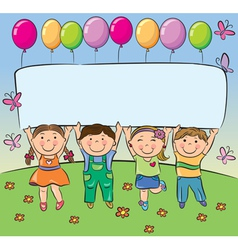 Summer children hold blank banner vector image