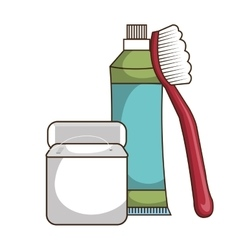 Toothbrush and toothpaste isolated icon vector