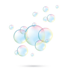 transparent soap bubbles realistic soap bubbles vector image
