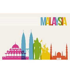 Travel malaysia destination landmarks skyline vector