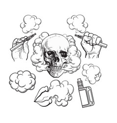 vaping related elements symbols - smoking skull vector image