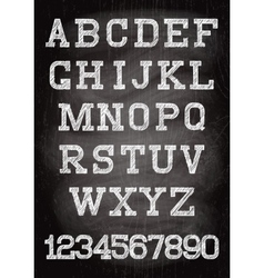 Vintage font written chalk on the wooden board vector