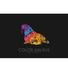 walrus color logo creative logo design vector image