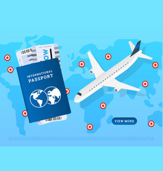 Web design international flights page vector