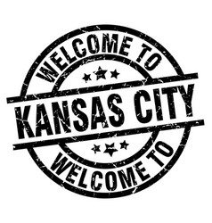 welcome to kansas city black stamp vector image