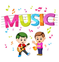 Word music with kids playing guitar and saxophone vector