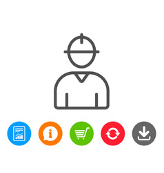 Worker line icon male profile sign vector