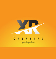 Xr x r letter modern logo design with yellow vector