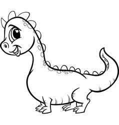 cartoon dragon character coloring page vector image